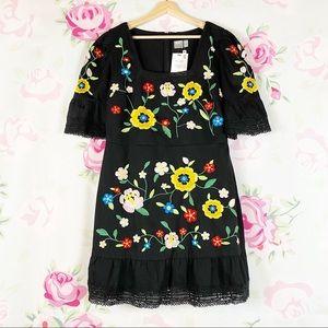 NEW ASOS Black Floral Embroidered Dress 12